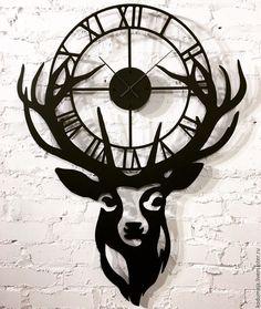 """Купить Часы 98см/75см """"Metsa"""" - настенные часы, часы из металла, олень, декор из металла, интерьер"""