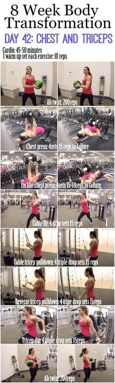 8 Week Body Transformation: Day 42 CHEST and TRICEPS