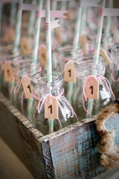Twin Cookies and Milk First Birthday Party (milk bottles with tags, bakers twine, retro stripe straws with flags)