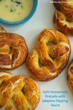 Soft Homemade Pretzels with Jalapeño Dipping Sauce {from 2 Sisters 2 Cities}