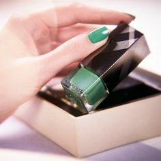 Intesting color: Burberry Nails in Sage Green, one of six colours in the limited edition nail polish collection from Burberry for - shot with Beauty Bar, My Beauty, Beauty Nails, Beauty Makeup, Burberry Nails, Burberry Makeup, Glam Nails, Cute Nails, Burberry Beauty Campaign