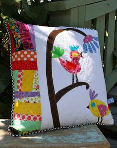 Funky bird pillow.