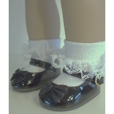 Black Patent Bow Doll Shoes for 18 Inch Dolls, and American Girl Doll (Toy)