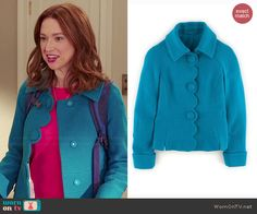 Kimmy's blue scalloped jacket on Unbreakable Kimmy Schmidt.  Outfit Details: https://wornontv.net/46741/ #UnbreakableKimmySchmidt
