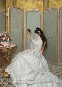 Jules Emile Saintin (French artist, A Fair Glance . × por imagen Jules Emile Saintin (French artist, A Fair Glance - Pictify - your social art network Victorian Paintings, Victorian Art, Victorian Ladies, Old Paintings, Beautiful Paintings, 1870s Fashion, Vintage Fashion, Social Art, Classical Art