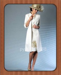 Knee-Length-Mother-Of-The-Bride-Dresses-With-Coat-Satin-Wedding-Formal-Gown