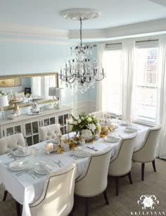Big Crystal Chandelier with ornate ceiling medallion in elegant Blue Dining Room