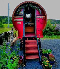 Settle by the fire and sip coffee - share stories...live lightly.....The Flying Tortoise: Tiny Colourful Gypsy Wagons For The Dreamer...