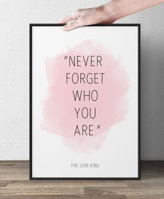 Never forget who you are, Lion King, Disney Quote, Inspirational Quote, Wall art , Watercolor fine art, Nursery art. on Etsy, $14.75