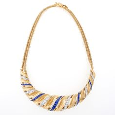 French Retro  Gold and Platinum, Diamond and Sapphire Necklace (=)