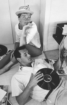 "Doris Day and Rock Hudson  (""Rock, please tell me that noise was the vinyl record."")"