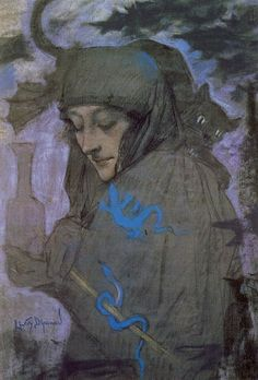 Lévy-Dhurmer. La Sorcière. Pastel, 1897.