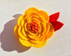 Yellow Felt Flower Magnet by BotelersBaubles on Etsy