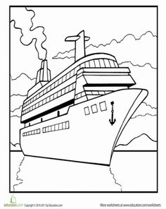 Where is this cruise ship going? Let your child come up with his own story while he colors in this cruise ship coloring page. Coloring Pages, Colouring, Google Images, Worksheets, Ship, Cruises, Therapy, Quote Coloring Pages, Ships