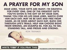 A prayer for my son