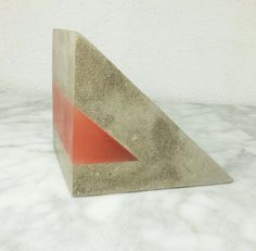 """Extra Large Concrete and Resin """"Wedge"""" Bookend. Brutalist-Style Bookend."""