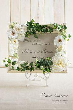 ホワイトローズグリーン アンティークウェルカムボード Wedding Signs, Diy Wedding, Wedding Flowers, Country Wedding Decorations, Flower Decorations, Fake Flowers, Dried Flowers, Wedding Welcome Board, Photo Frame Design