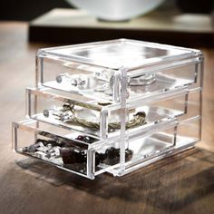 Boite � bijoux acrylique transparent avec tiroirs Organizer