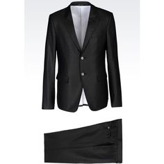 EMPORIO ARMANI Suit In Micro Patterned Wool And Silk ($1,020) found on Polyvore featuring men's fashion, men's clothing, men's suits, lead, slim fit mens clothing, mens wool suits, mens silk suits, mens patterned suits and mens slim suits