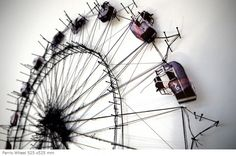 Debbie Smyth  Ferris Wheel 525x525mm  Thread, mixed media