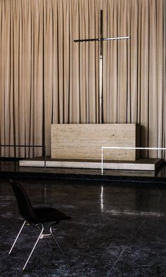 Robert F. Carr Memorial Chapel of St. Savior (i.e., The God Box) by Ludwig Mies van der Rohe, 1949-1952, at the Illinois Institute of Technology, Chicago.