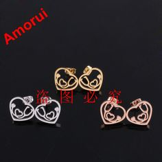 Rose Gold/Gold/Silver Heart Stethoscope Stud Earrings for Women Fashion Brinco Doucles D'oreille Bijoux Earring Jewelry