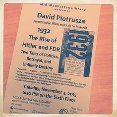 Kevin C. Fitzpatrick @k72ndst Look what I spotted @midmanhattanlib my pal @DPietrusza has a talk tomorrow #FDR & #Hitler. New book @Lyons_Press pic.twitter.com/9TA1TVsv3f