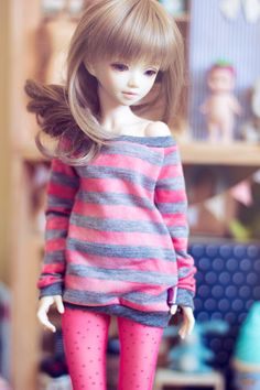 Orange and Grey stripes sweater for MSD size bjd by sugardollshop, $18.00