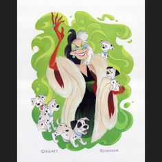 Here's my final Cruella piece I did this weekend at the gallery in She's off to the framer and will be available soon for purchase through the gallery. Reminder: this. All Disney Movies, Disney Villian, Cartoon Movies, Disney And Dreamworks, Disney Pixar, Disney Characters, Walt Disney, Evil Disney, Disney Love