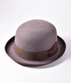 1e6b140ce12 Dark Grey Wool   Brown Ribbon Bowler Hat