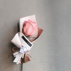 A single perfect pink rose, exquisitely wrapped