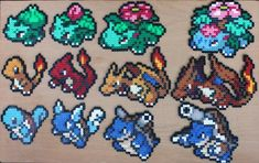 Pokemon Bead Sprite - Generation One Starter Set Hama Perler Diy Perler Bead Crafts, Diy Perler Beads, Pokemon Perler Beads, Mew Et Mewtwo, Mega Mewtwo, Pokemon Starter, Sprites, Pixel Art, Pokemon Craft