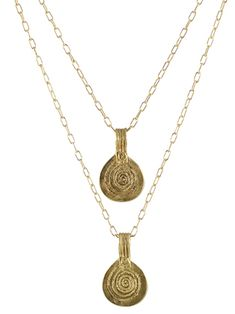 Double Berber Pendant Necklace by Peggy Li Creations. Two gold-plated brass pendants on a double strand chain.