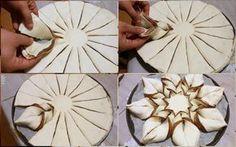 Fior di Sfoglia alla Nutella | Ricette in Armonia Xmas Food, Christmas Baking, Bread Shaping, Bread Art, Braided Bread, Torte Cake, Pastry Art, Baking And Pastry, Food Decoration