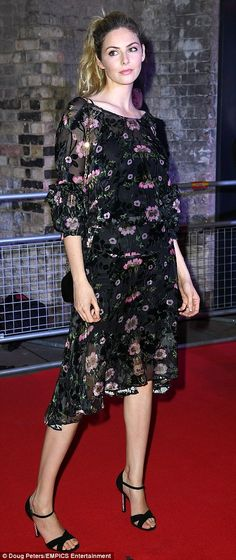 Say it with flowers: Tamsin Egerton arrived at the exclusive fundraiser looking sensational in a floaty black floral dress Tamsin Egerton, Kimberley Garner, Silver Gown, Lean Legs, Natalia Vodianova, Metallic Dress, Naked, Glamour, Gowns