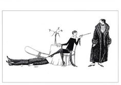 Woman and Men, One Under the Table by Edward Gorey Art Postcard