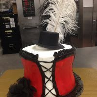 Burlesque Cake with Feather | Strawberry Creme cake iced to look like a Burlesque Corset. Feathers ...