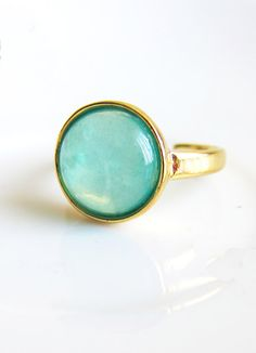 Turquoise Ring Pale Light Blue Mint Ring Faux Gem Stone Ring Simple Modern Dusty Aqua Sea Foam Ring Minimal