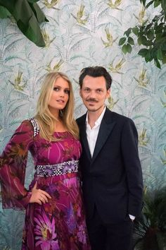 Lady Kitty Spencer pictured with Matthew Williamson wearing his Jungle Bloom flare dress with embroidered details #ohMW