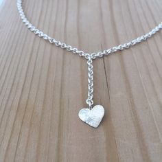 Silver heart necklace Silver jewelry Delicate necklace by GalEphod
