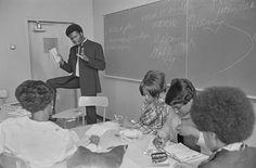 George Murray, Minister of Education, teaching English at San Francisco State College, San Francisco, CA, Oct. 2, 1968 — in San Francisco, California.  Photo credit: Pirkle Jones / University of California, Santa Cruz
