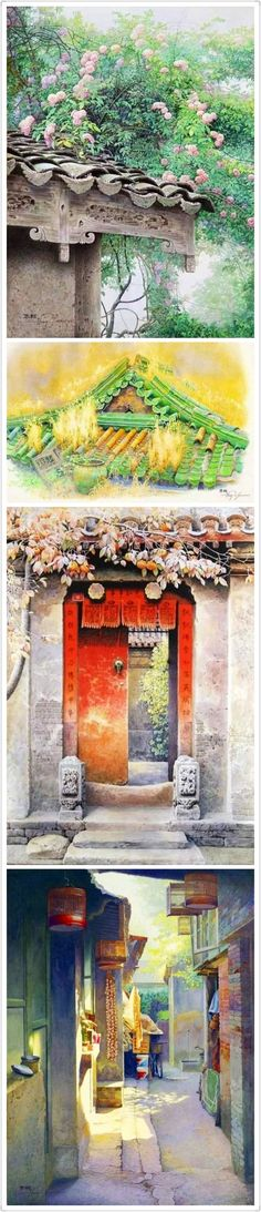 Chinese watercolor of a Beijing lane.