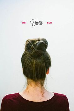 big bun! if you do it wrong you'll end up looks like you have a massive dog poo in your head LOL