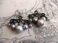 Arctic Gypsy. Grungy Wired Pearl Dangles.