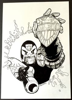 Judge Dredd San Diego Comic-Con Art by Carlos Ezquerra - in Julius Howe's Pin-ups and Back Covers Comic Art Gallery Room 2000ad Comic, Comic Art, Comic Books, Comic Tattoo, Judge Dredd, Neon Nights, Star Lord, San Diego Comic Con, Pin Up