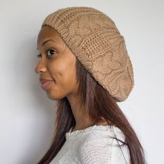 Brown Satin Lined Beanie Slouchy Beanie Natural by TagMeTrendy, $28.00
