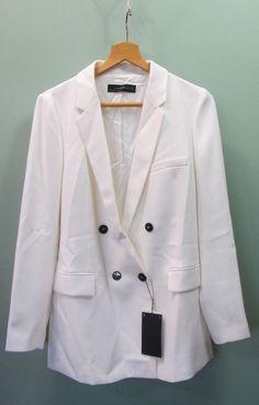 2ab70b6da03800 Ladies Zara White Longline Blazer Style Jacket - UK Size L BNWT 79.99  23D