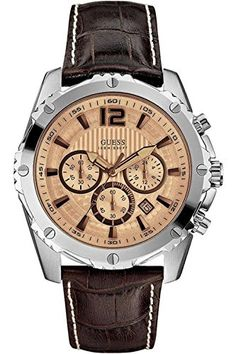 0f00b45a0e6 GUESS U0166G2 Men s Chronograph Stainless Steel Case Brown Leather Strap --  Click image to review