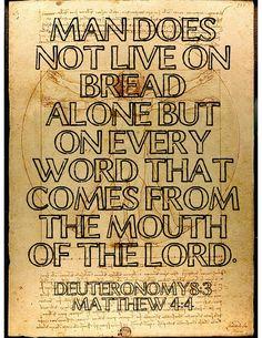 Scripture Deuteronomy 8:3 / Matthew 4:4
