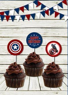 Cupcake toppers Captain America inspired por InspiredPretties